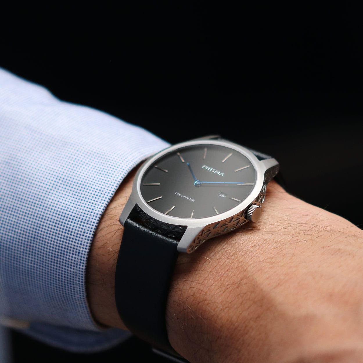 prisma horloge watch leeghwater P 1820 grijs