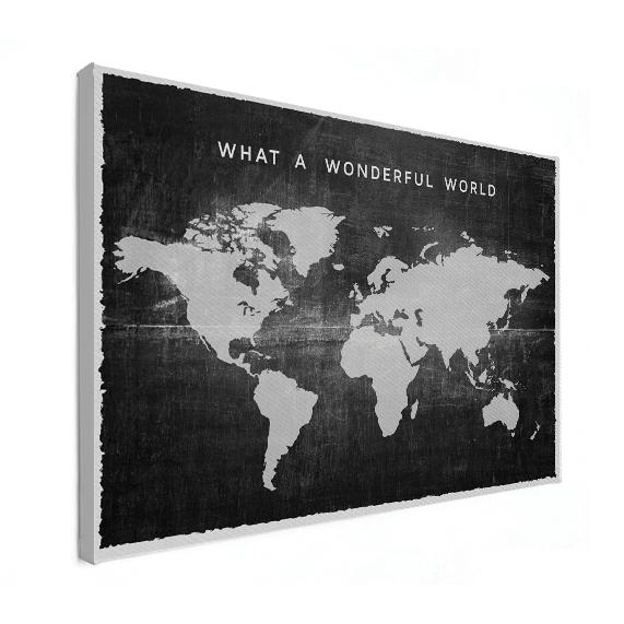 wereldkaart zwart wit